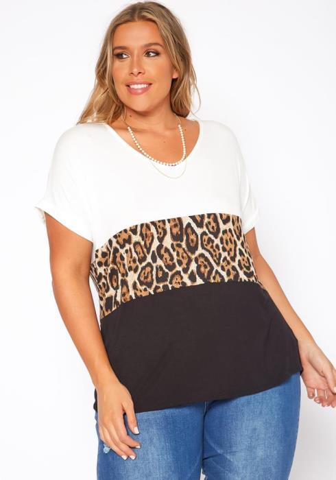 Plus Size Print Block Casual Tee Shirt