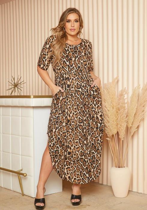 Plus Size Leopard Print Curved Hem Maxi Dress