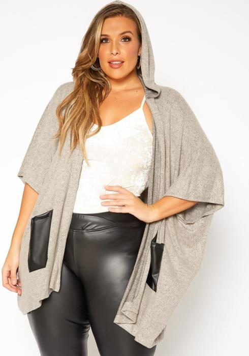 Plus Size Hooded Open Front Knit Cardigan