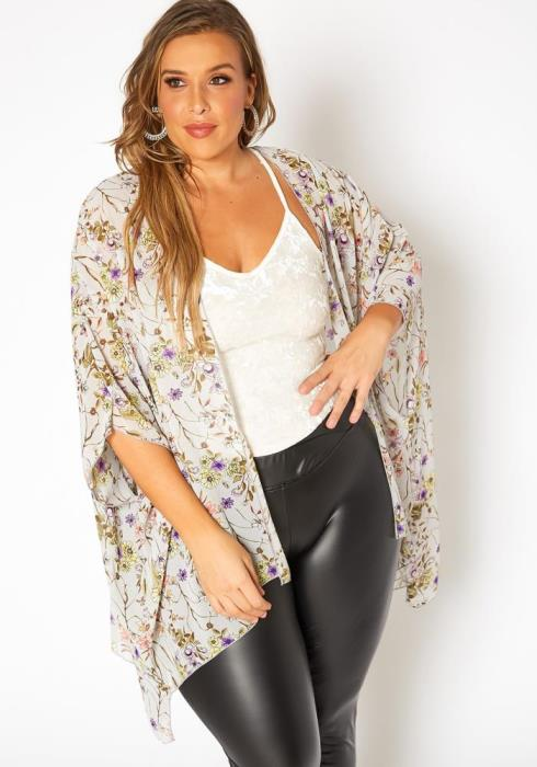 Plus Size Floral Print Kimono Cardigan
