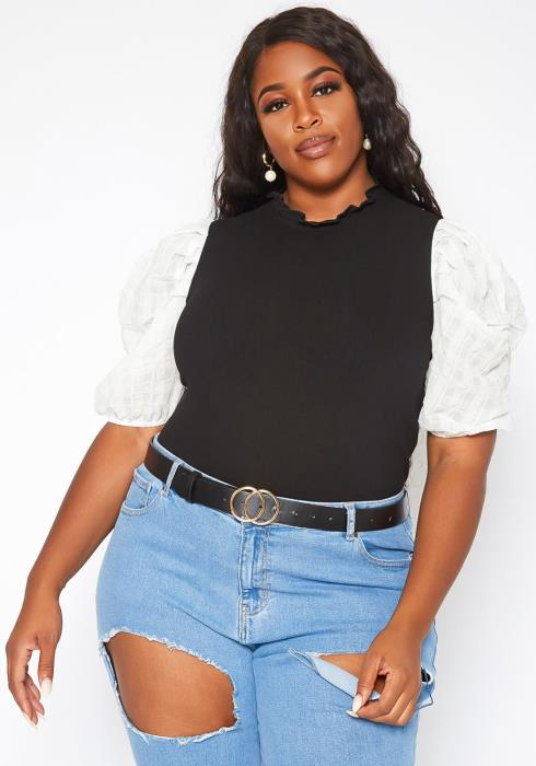 Plus Size Ribbed Contrast Puff Sleeve Top