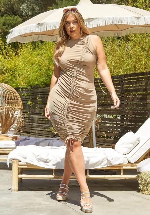 Plus Size Drawstring Hem Bodycon Mini Dress