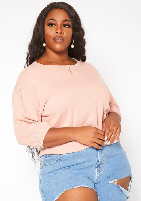 Plus Size Relaxed Fit Crew Neck Top