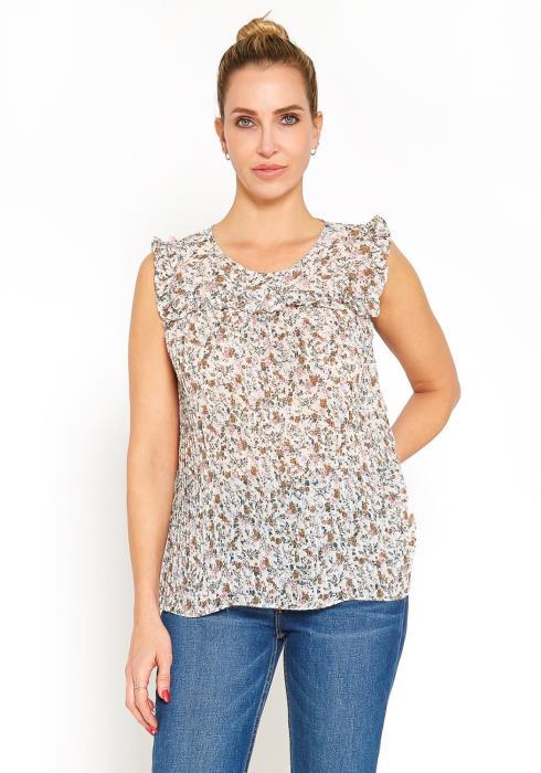 Tansy Multi Print Womens Sleeveless Ruffle Blouse