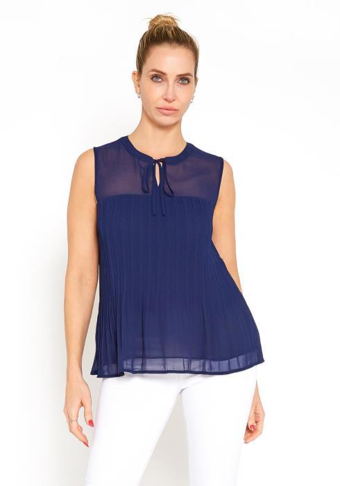 Tansy Sleeveless Semi Sheer Pleated Blouse Top