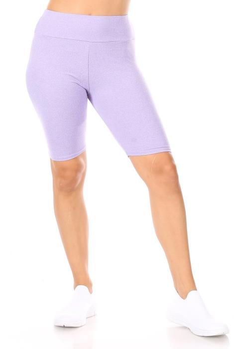 Solid high waist biker shorts with an elastic waist.