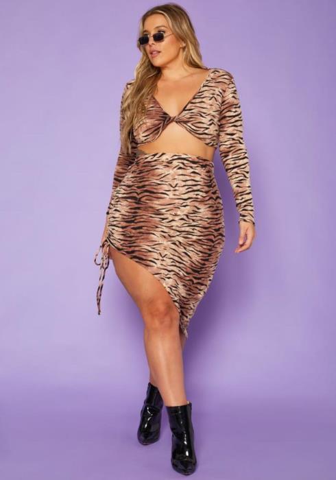 Plus Size Multi Print Crop Top & Skirt Set