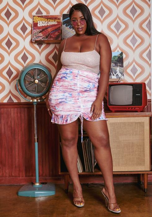 Plus Size Tie Dye Ruffle Trim Mini Skirt