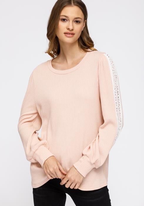 Pleione Round Neck Sweater With Long Cuff Sleeves Women Clothing