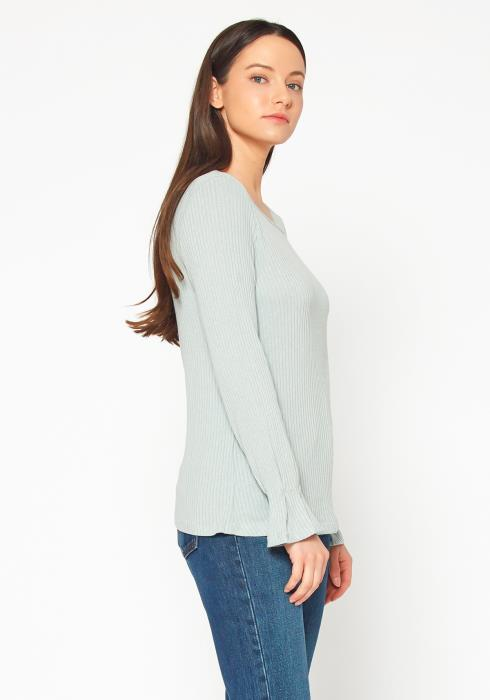 Pleione Ribbed Knit Top With Gathered Bell Cuff Women Clothing