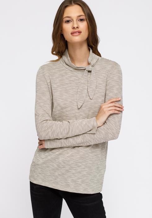 Pleione Self-Tie Mock Neck Sweater Top Women Clothing