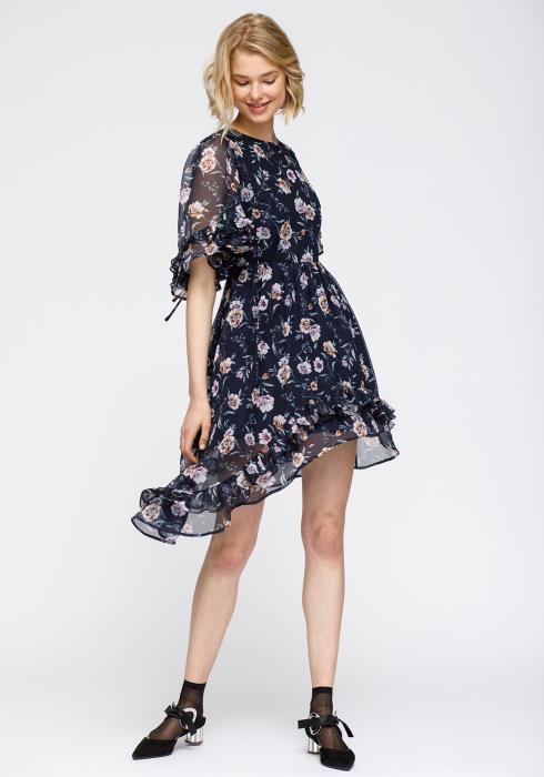 Nurode Wax Flower Asymmetrical Hi-Lo Dress Women Clothing