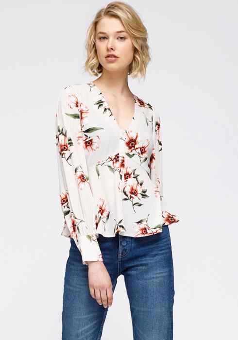 Nurode Rust flower V neck Empire waist peplum Blouse Women Clothing