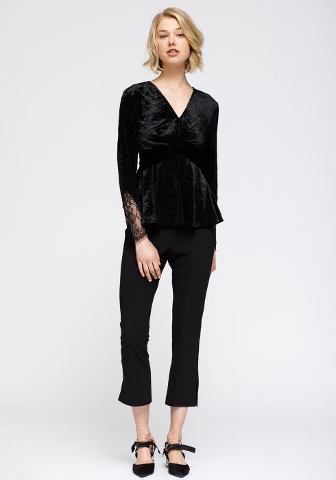 Nurode Velvet Wrap Front Lace Inset Sleeve Peplum Top Women Clothing