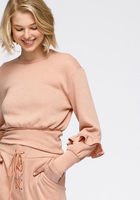 Nurode Crewneck Ruffle Sleeve Peplum Sweatshirt Women Clothing