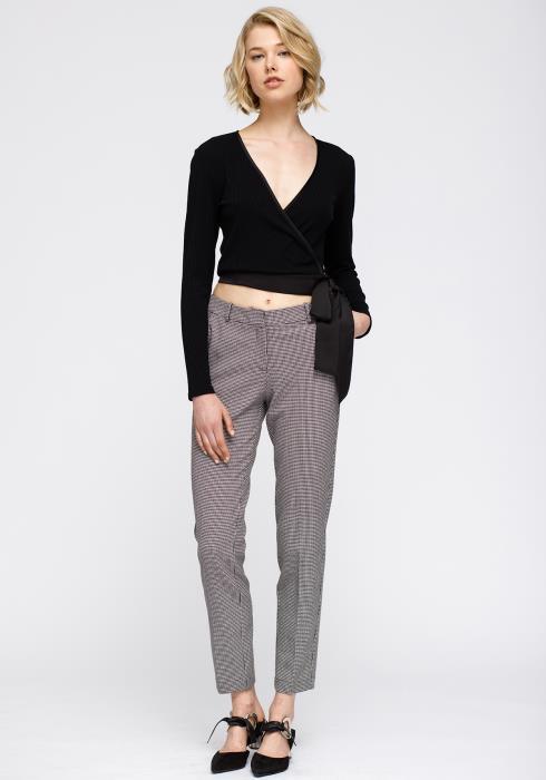 Nurode Wrap Front Satin tie Ribbed Crop Knit Top Women Clothing