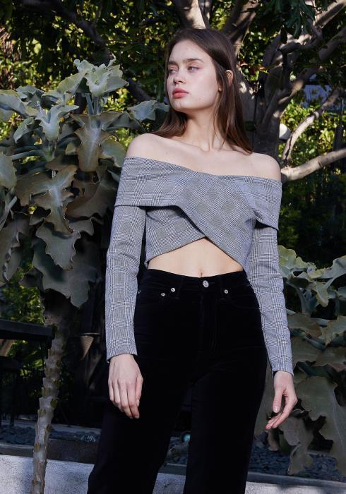 Nurode Glen Plaid Off Shoulder Crisscross Crop Top Women Clothing