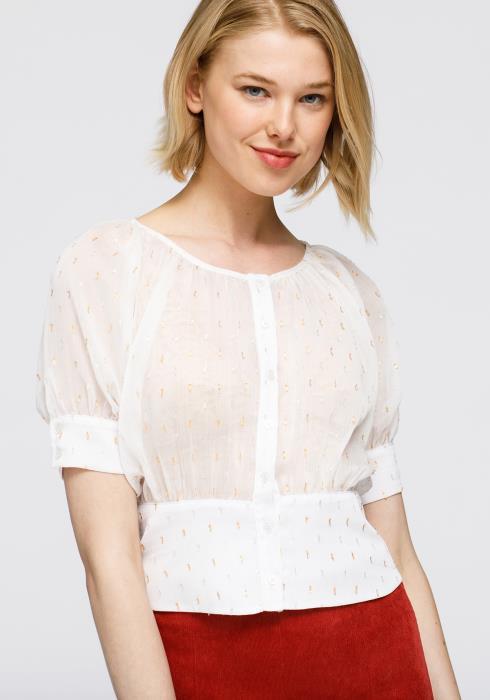 Nurode Sheer Puff Shoulder Crop Top Blouse Women Clothing