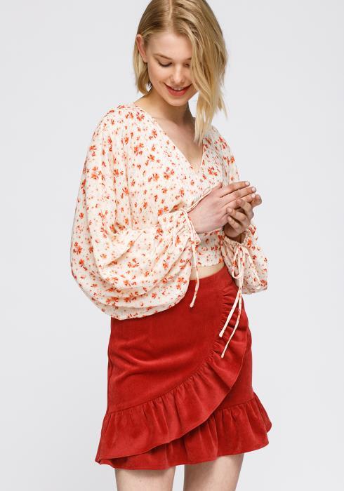 Nurode Fall Garden Wrap Front Crop Blouse Women Clothing