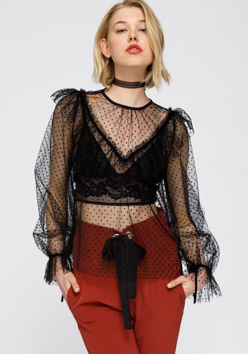 Nurode Polka Dot Mesh Ruffle Top Women Clothing