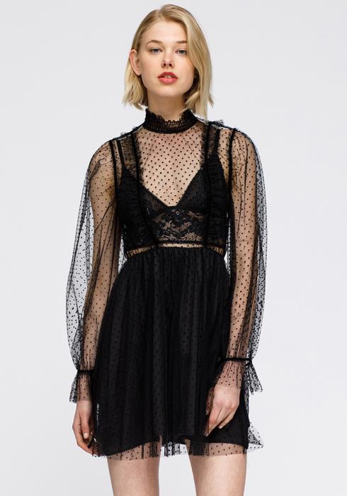 Nurode Polka Dot Mesh Smocked neck Flare Dress Women Clothing