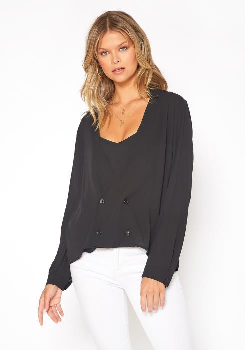 Pleione V-neck Button Down Stripe Shirt Blouse Women Clothing