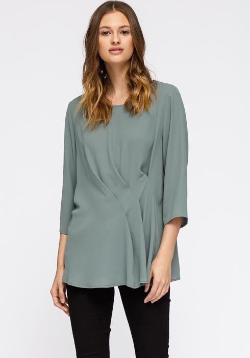 Pleione 3/4 Sleeve Pleated Blouse Top Women Clothing
