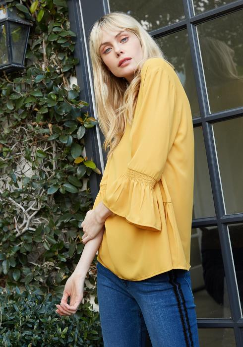 Pleione Pleated Blouse With Smocked 3/4 Bell Sleeve Women Clothing