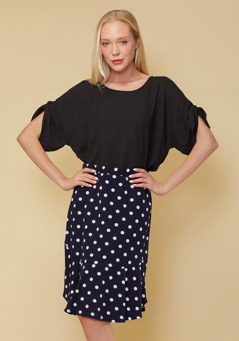 Pleione Round Neck Self-tie Short Sleeve Top Women Clothing