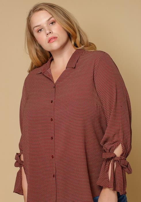 Pleione Self-tie Bell Cuff Plus Size Women Clothing Button Down Shirt Blouse