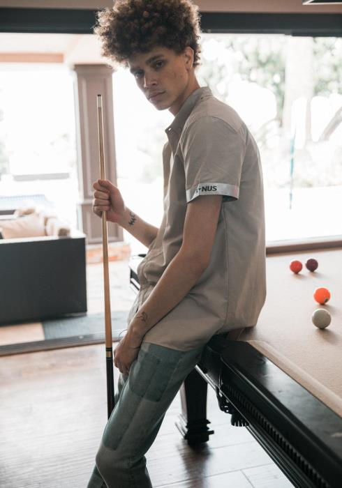 Konus Short Sleeve Button Down Shirt with Tape on Cuffs