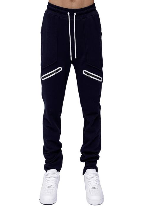 Konus Mens Sweatpants with Zipper on Inseam and Zipper Pocket