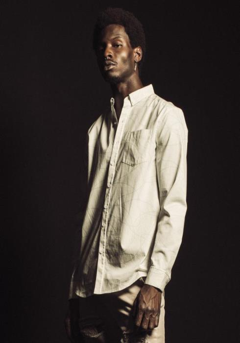Konus Long Sleeve Button Down Shirt in Line Work Printed fabric