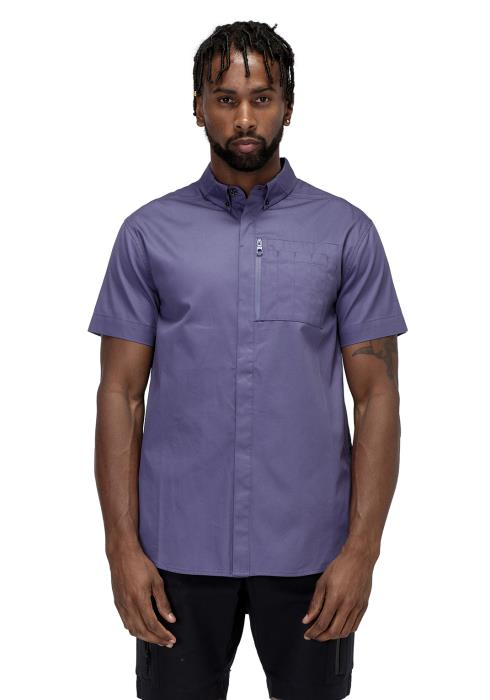 Konus Short Sleeve Button Down Shirt with Reflective Tape on Side Seams