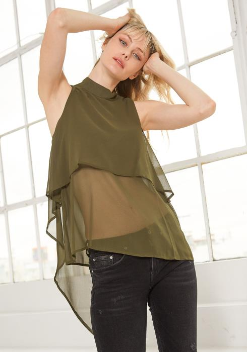 Ro&De Mock Neck Sleeveless Blouse Women Clothing
