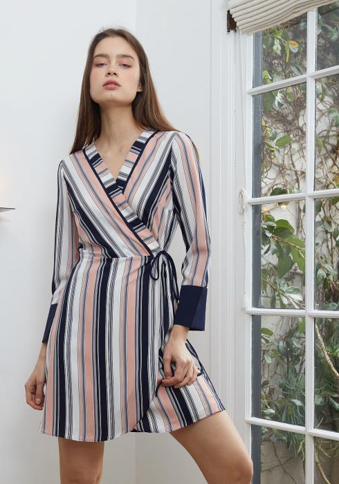 Nurode Printed Wrap Dress With Cuff Binding