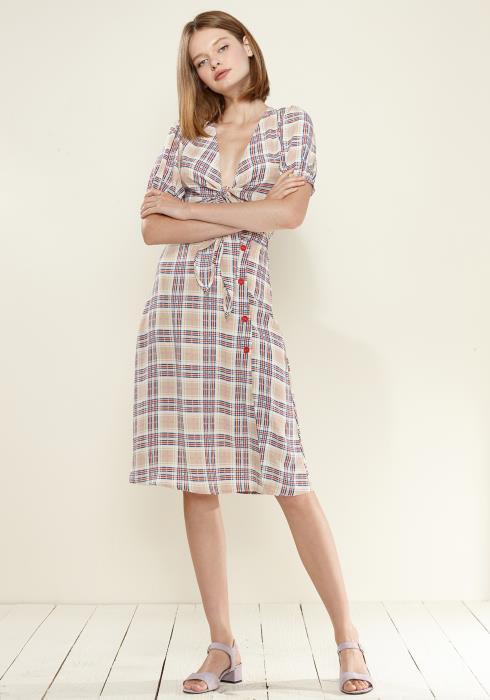 Nurode Multi Check Button Down Slit Skirt