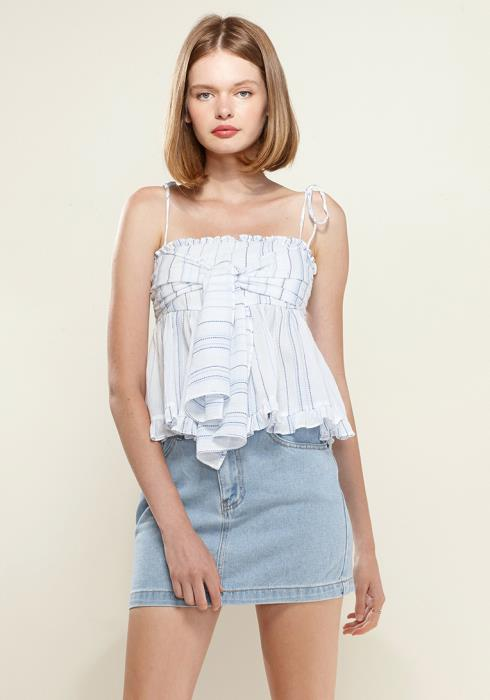 Nurode Tie Front Flared Cami Blouse