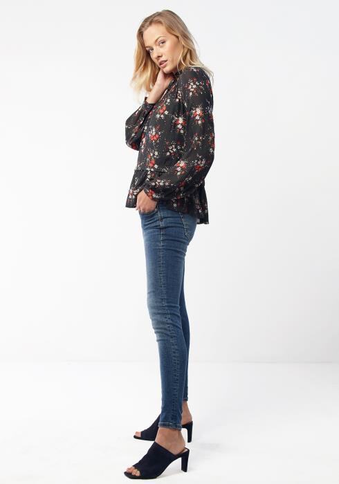 Ro&De Women Clothing Ruffle Mock Neck Floral Blouse