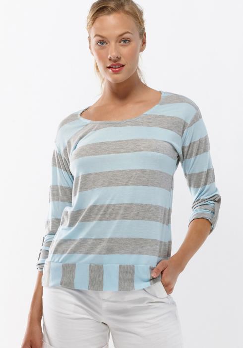 Pleione Blue Grey Women Clothing Stripe Tee