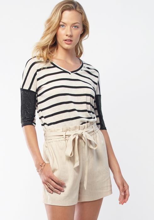 Bellatrix V-Neck Rhinestone Studded Women Clothing Top