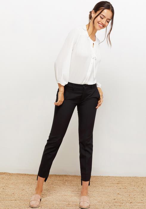 Pleione Women Clothing Tie Neck Button Front Blouse