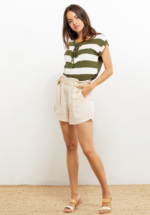 Pleione Lace Tie Stripe Women Clothing Tee