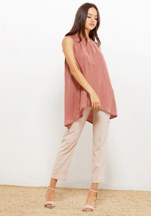 Pleione Hi-Lo Flared Tunic Women Clothing Blouse