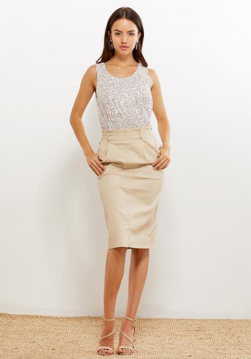 Pleione Women Clothing Printed Sleeveless Blouse