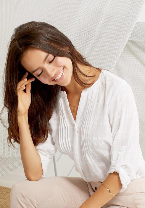 Pleione Women Clothing Button Down Cotton Shirt Blouse