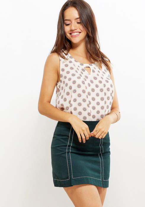 Pleione Keyhole Women Clothing Sleeveless Blouse
