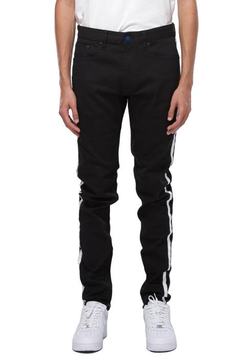 Konus S2 Zipper Jeans in Black with Side Stripe