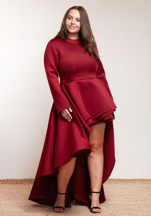 Asoph Plus Size Women Clothing Layered Hi-Lo Dress