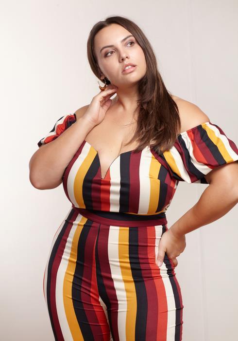 Asoph Plus Size Women Clothing Off Shoulder Striped Jumpsuit